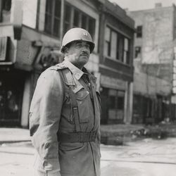 On duty in the W. Madison St. riot area are a national guard captain April 7, 1968.