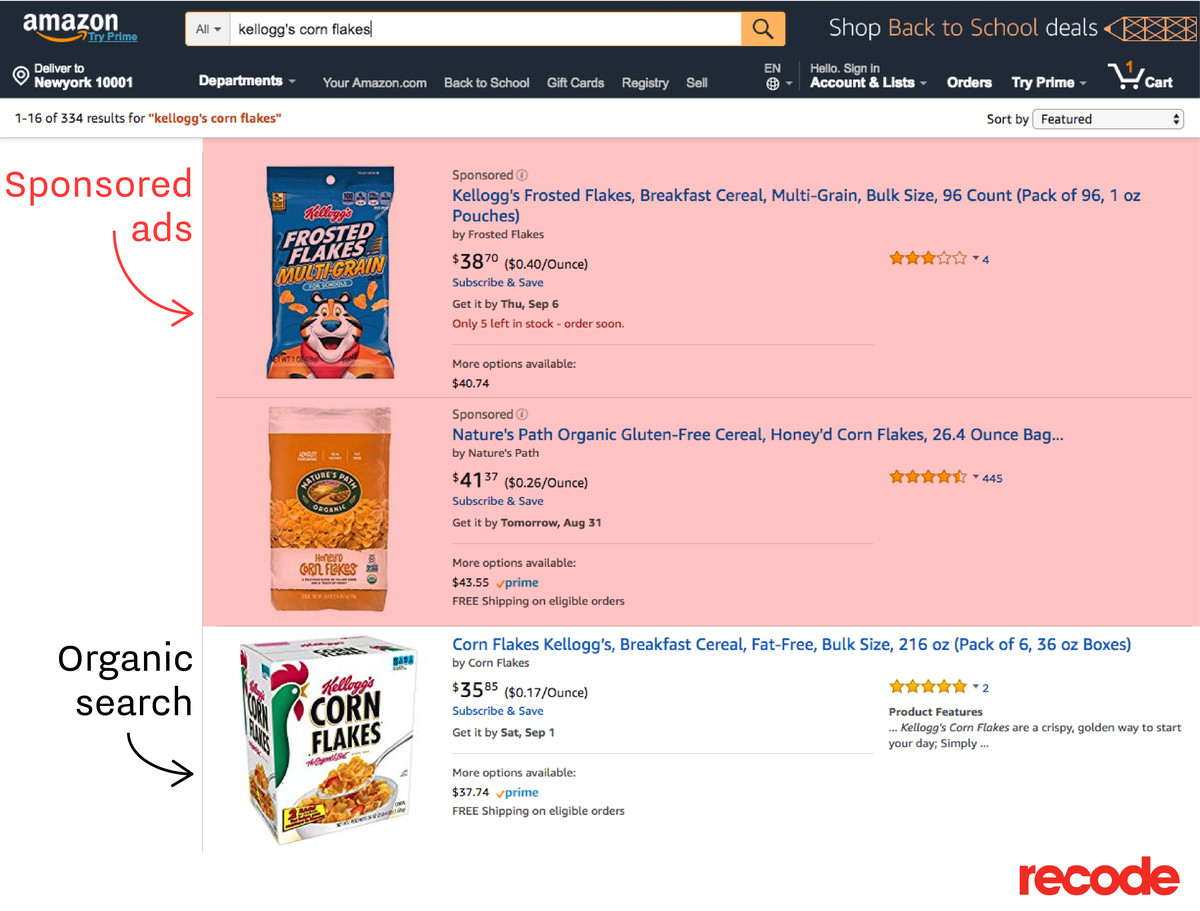 Sponsored search and organic search for cereal on Amazon.