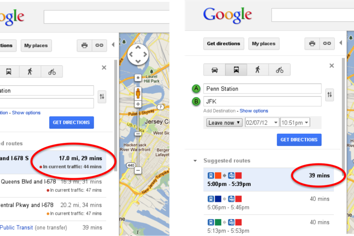 Google Adds Realtime Traffic Estimates To Maps Directions The Verge - Penn station nyc maps google com