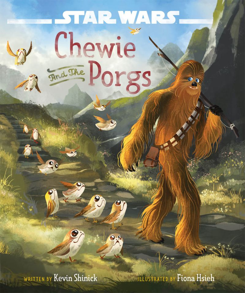Chewie and the Porgs book cover - smiling Chewbacca being followed by a dozen little porgs