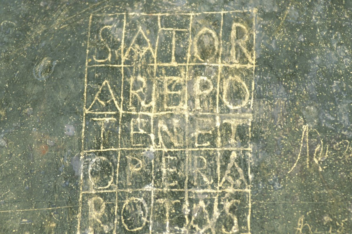 Sator square, Church of San Lorenzo, Paggese, Marche, Italy, 14th century