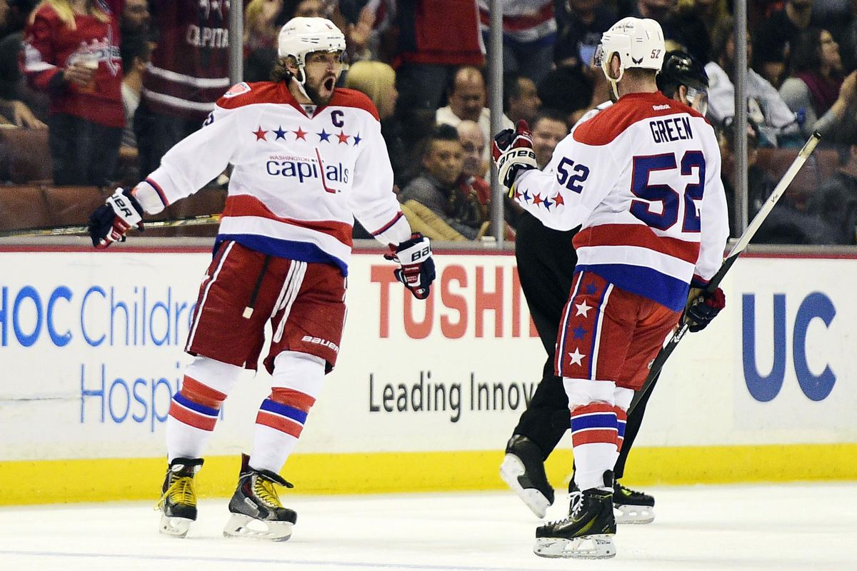 Alex Ovechkin celebrates his first period power play goal with Mike Green.