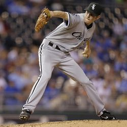 Chicago White Sox starting pitcher Chris Sale throws during the second inning of a baseball game against the Kansas City Royals Wednesday, Sept. 19, 2012, in Kansas City, Mo.