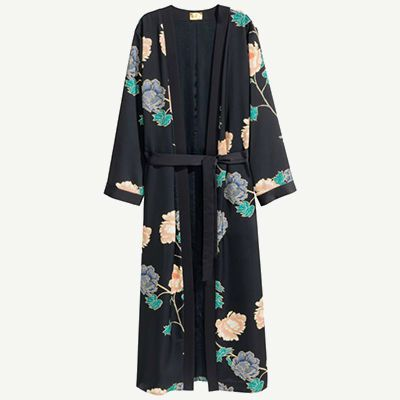 Black silk kimono styled jacket with peach and navy floral designs.
