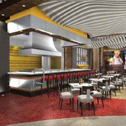 Renderings of the open kitchen at Flame Burger.