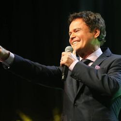 Donny Osmond gives his keynote speech at RootsTech at the Salt Palace in Salt Lake City on Saturday, Feb. 14, 2015.