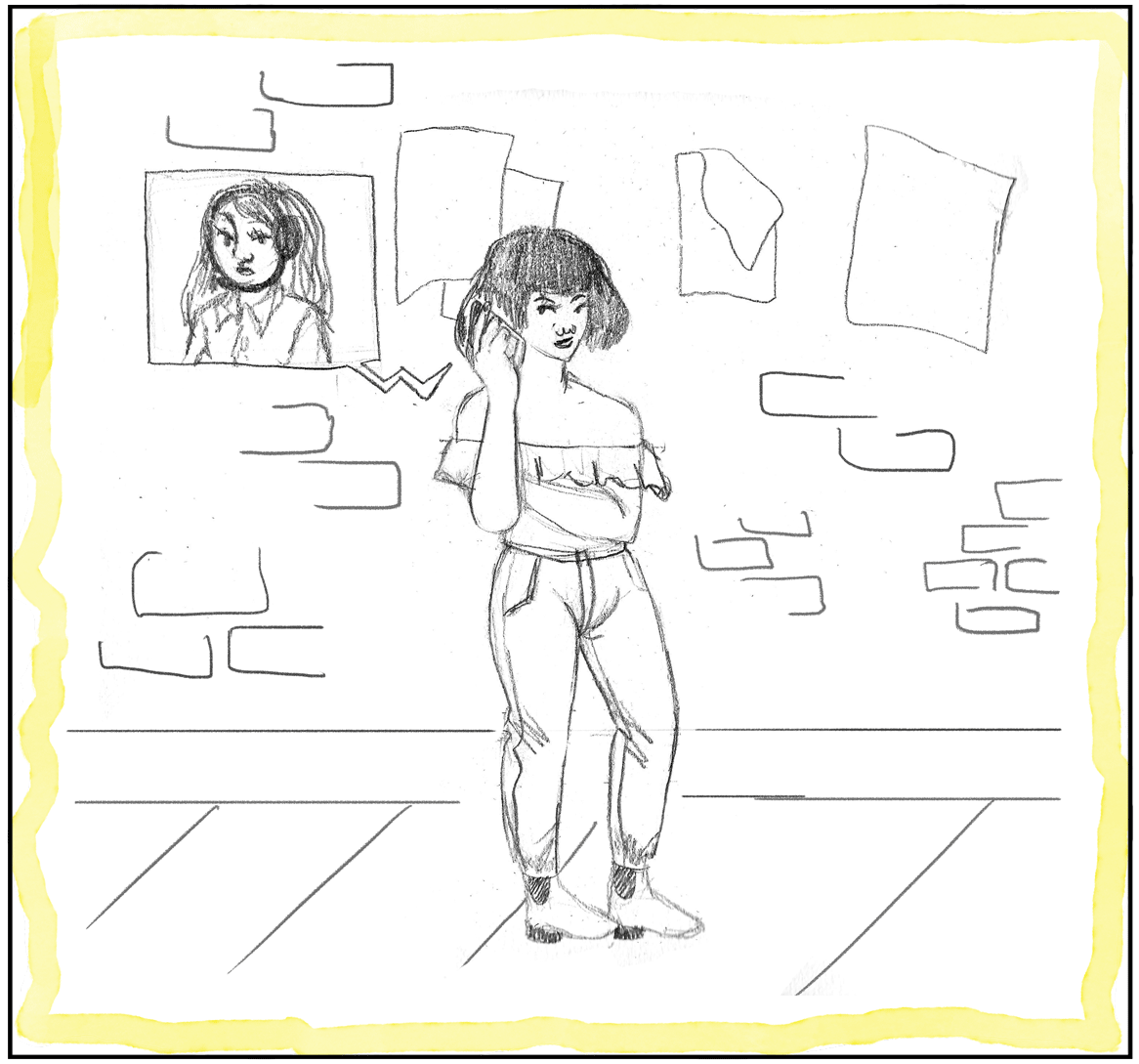 An illustration of a woman reporting an incident to 911.