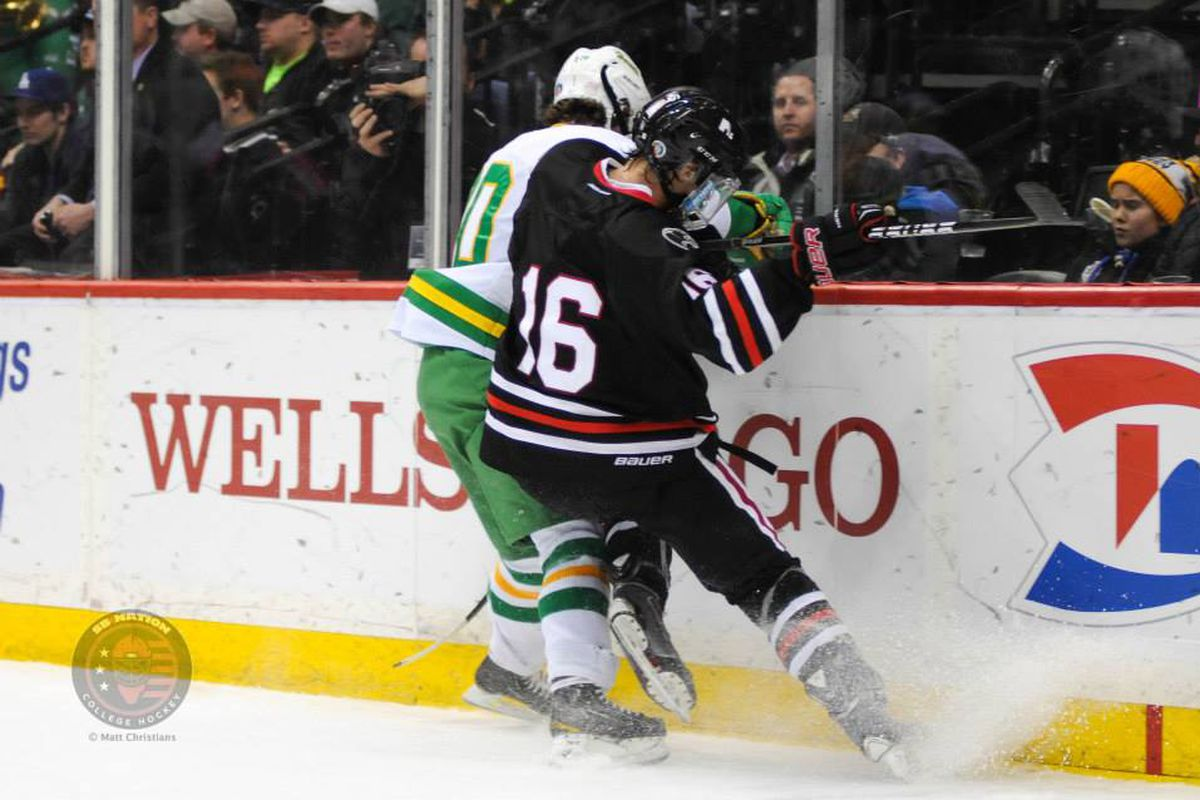 Sadek delivers a check in the Minnesota Class AA state championship game