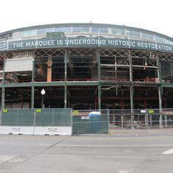 11:10 a.m. A wider view of the front of the ballpark -