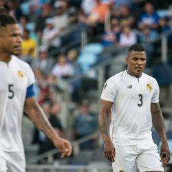 June,18, 2019 - Saint Paul, Minnesota, United States - Panama defenders Roman Torres (5) and Harold Cummings (3) during a CONCACAF Gold Cup match between Trinidad and Tobago and Panama at Allianz Field.