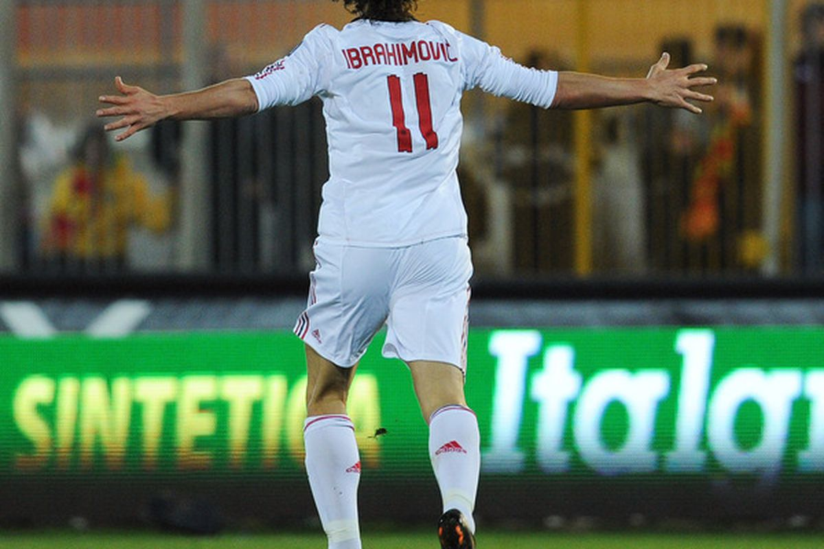 LECCE ITALY - JANUARY 16:  Zlatan Ibrahimovic of Milan celebrates after scoring the opening goal during the Serie A match between Lecce and Milan at Stadio Via del Mare on January 16 2011 in Lecce Italy.  (Photo by Giuseppe Bellini/Getty Images)