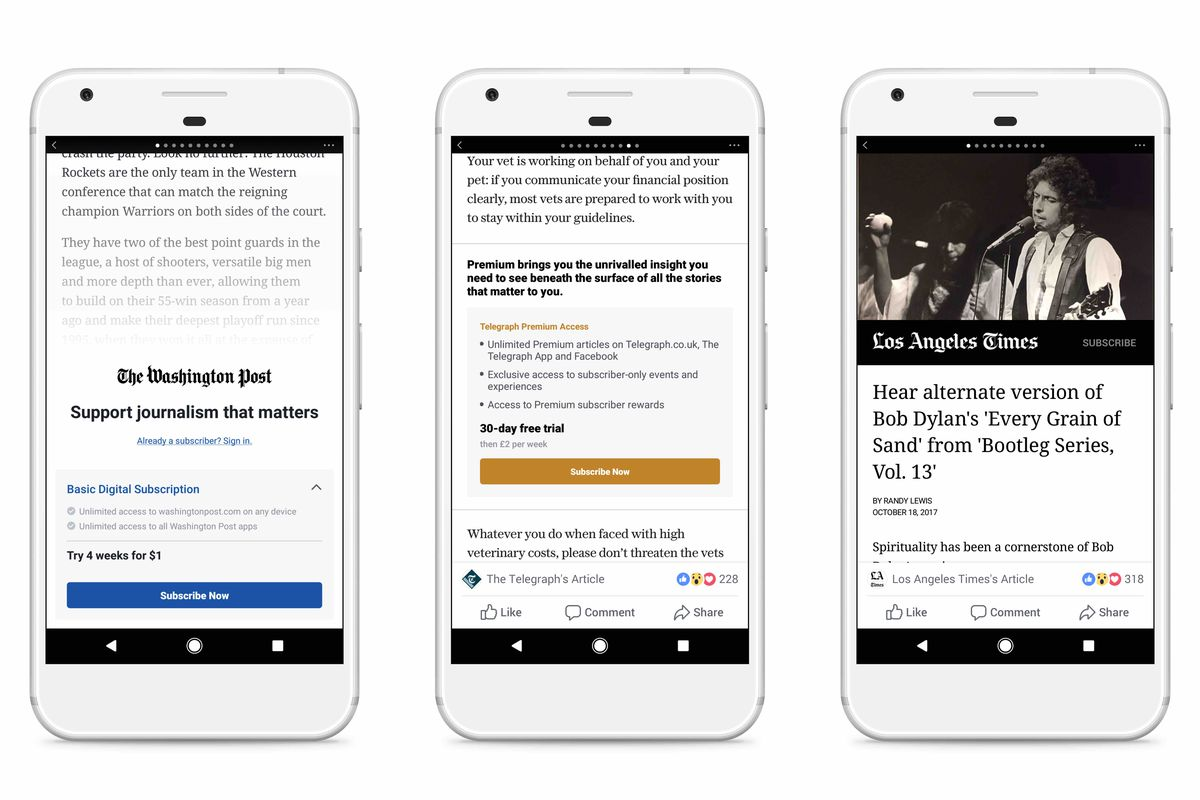 Facebook is letting 10 media outlets charge readers subscriptions to view stories