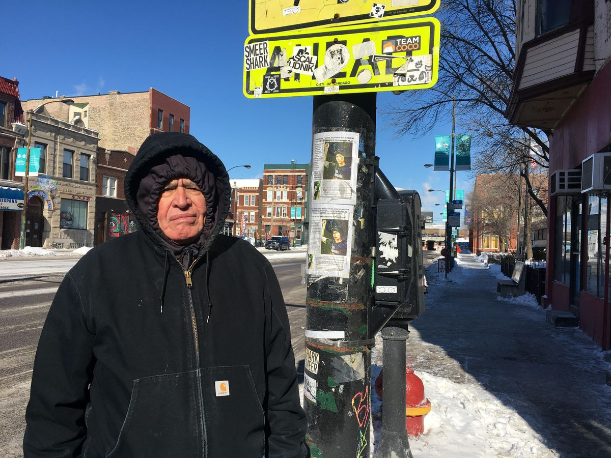 Pablo Camacho, 78, on his way home after a trip to the grocery store on Wednesday in Pilsen. | Carlos Ballesteros/Sun-Times