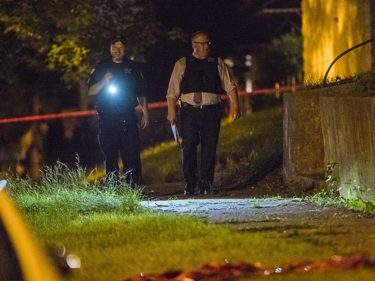 Police investigate multiple people shot, one fatally Monday night in the 12300 block of South Yale in Chicago.   Tyler LaRiviere/Sun-Times