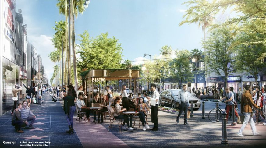 A rendering showing a wide sidewalk and street-level cafes.