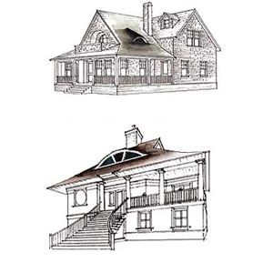 <p>In the late 19th century, small eyebrow windows were a frequently used detail on the large roofs of Shingle-style houses (top). A large eyebrow is a prominent feature on this contemporary hip-roofed beach house by architect Robert A.M. Stern.</p>