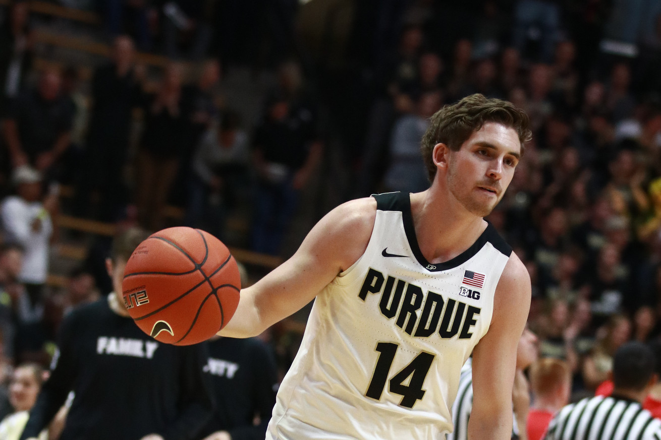 Sophomore center Matt Haarms tipped in a missed shot by junior guard Carsen Edwards with three seconds remaining in Tuesday nights game to lift No 15 Purdue 197