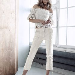 100% organic cotton off-the-shoulder lace top, $59.95; bonded trousers, $129; embellished mules, $149
