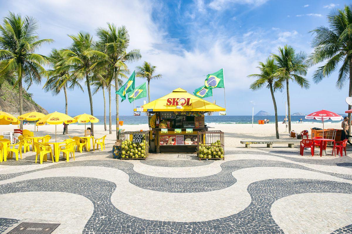 A Skol beach stand in Rio