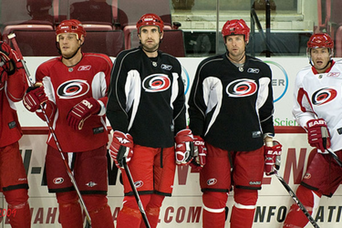 """Still working it out are Tim Conboy, Jay Harrison and Aaron Ward at a recent Hurricanes practice at the RBC Center  via <a href=""""http://farm4.static.flickr.com/3535/3950945079_ca207990b6.jpg"""">LTD</a>"""