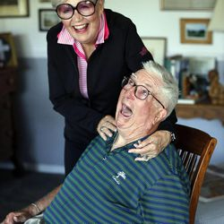 Frank Layden jokes around as he poses for a portrait with his wife Barbara at their home in Salt Lake City Tuesday, June 3, 2014.