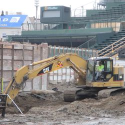 Closer view of digging in right field