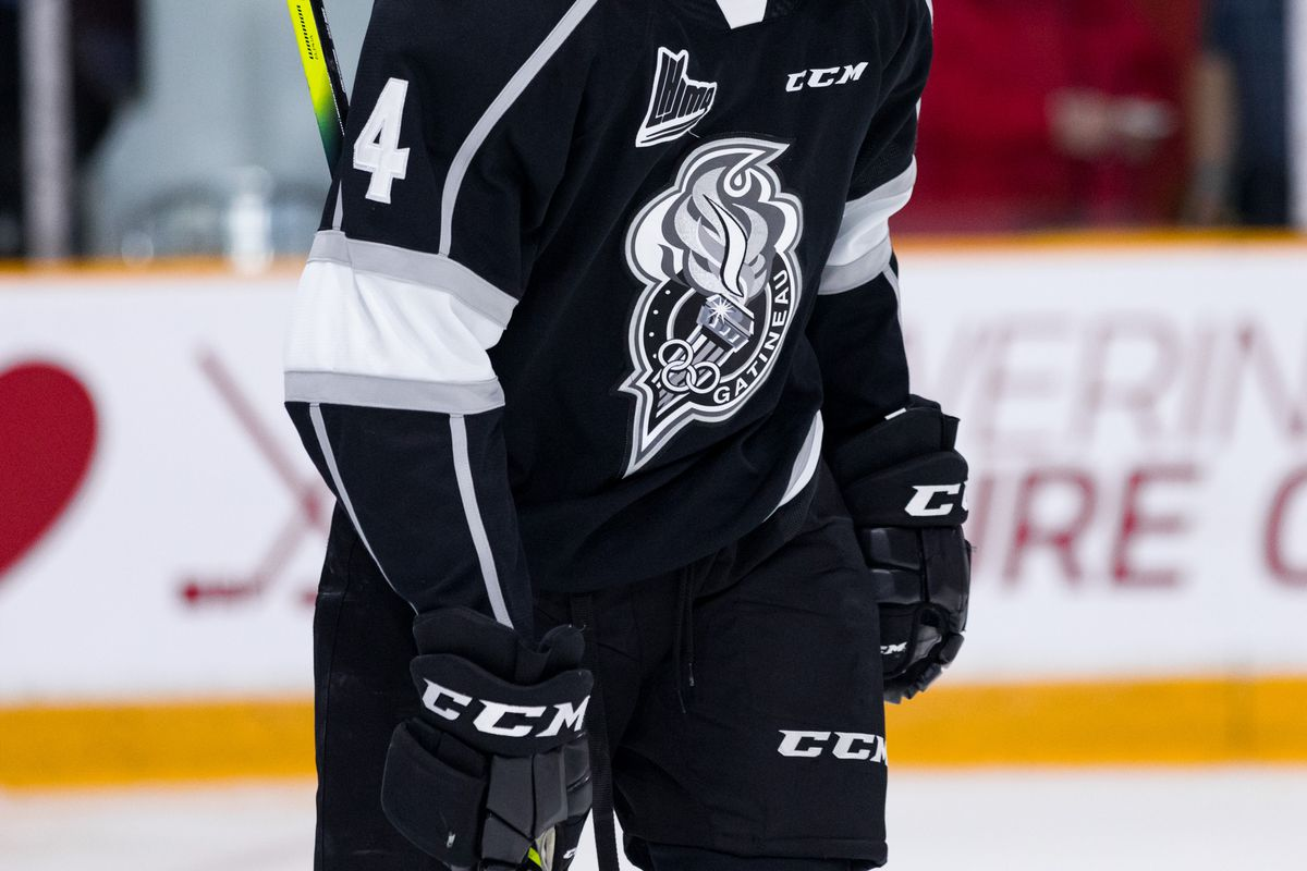 Gatineau Olympiques Defenceman Darick Louis-Jean (4) after a whistle during Ontario Hockey League action between the Gatineau Olympiques and Ottawa 67's on December 8, 2019, at TD Place Arena in Ottawa, ON, Canada.