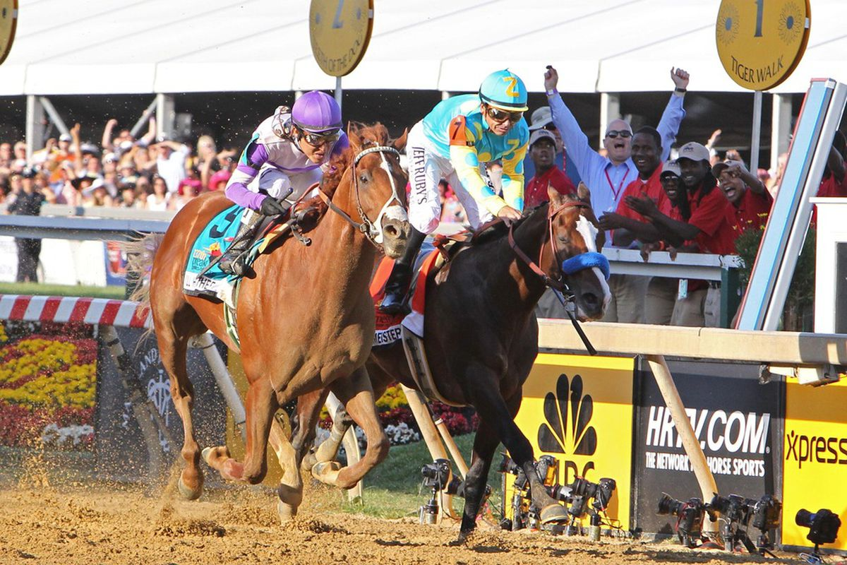 May 19, 2012; Baltimore, MD, USA; Mario Guttierez (9) aboard I'll Have Another wins the the 137th running of the Preakness Stakes at Pimlico Race Course. Mandatory Credit: Mitch Stringer-US PRESSWIRE