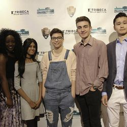 """The participants in """"The America I Am,"""" a national youth film competition presented by the Tribeca Film Institute. Kyle Ransom, second from right, won the grand prize."""