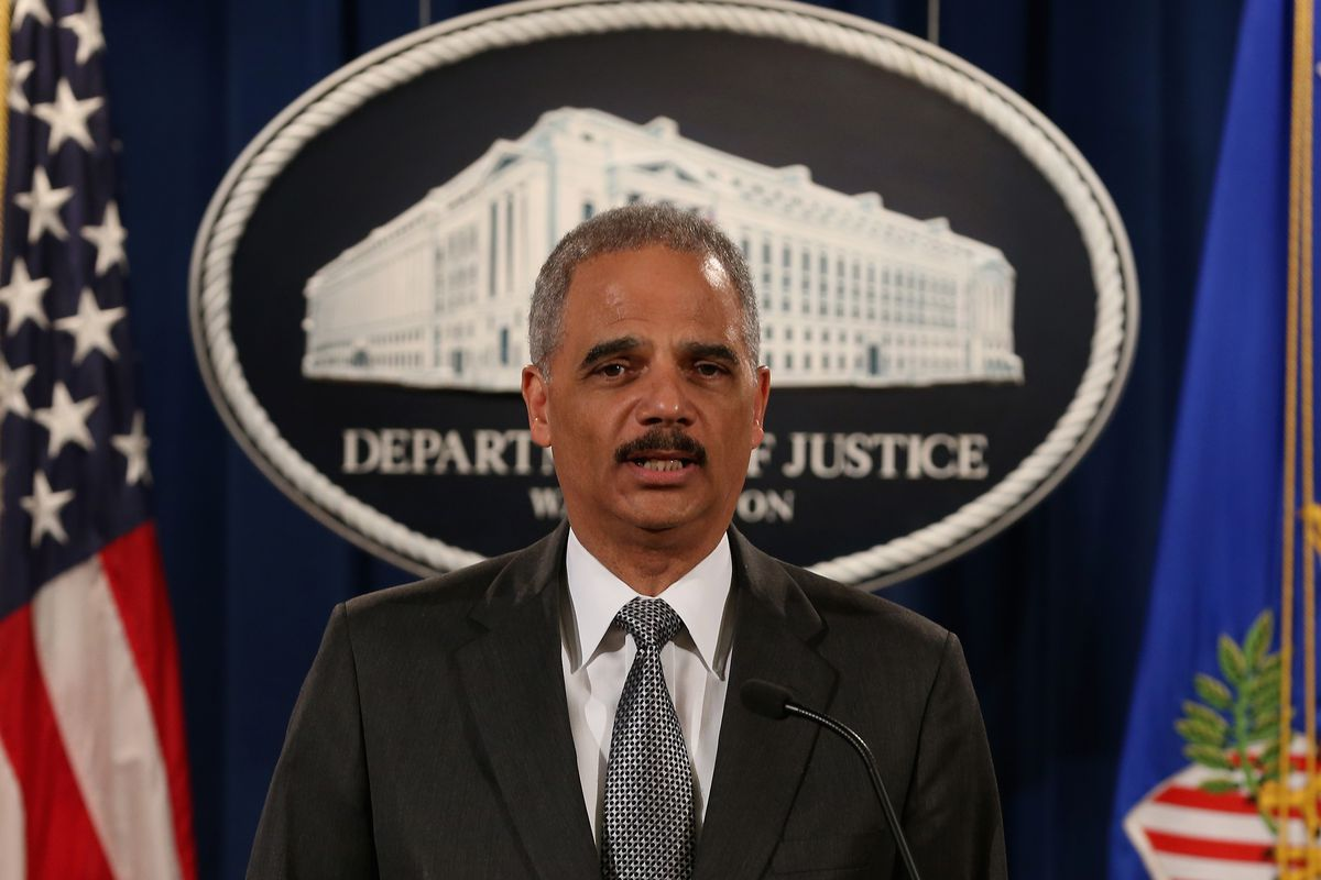 US Attorney General Eric holder speaks to media.