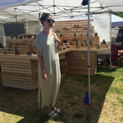 Shopper Katie looked effortless in a Lauren Manoogian knit dress and white Birks.