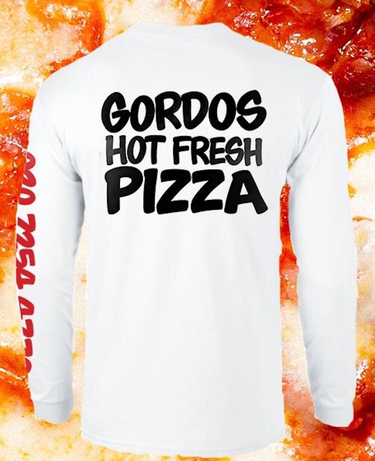 """The best London restaurant merch includes this white long-sleeved t-shirt with """"GORDOS HOT FRESH PIZZA"""" in black cartoon font"""