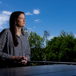 BYU associate athletic director Liz Darger on campus in Provo.