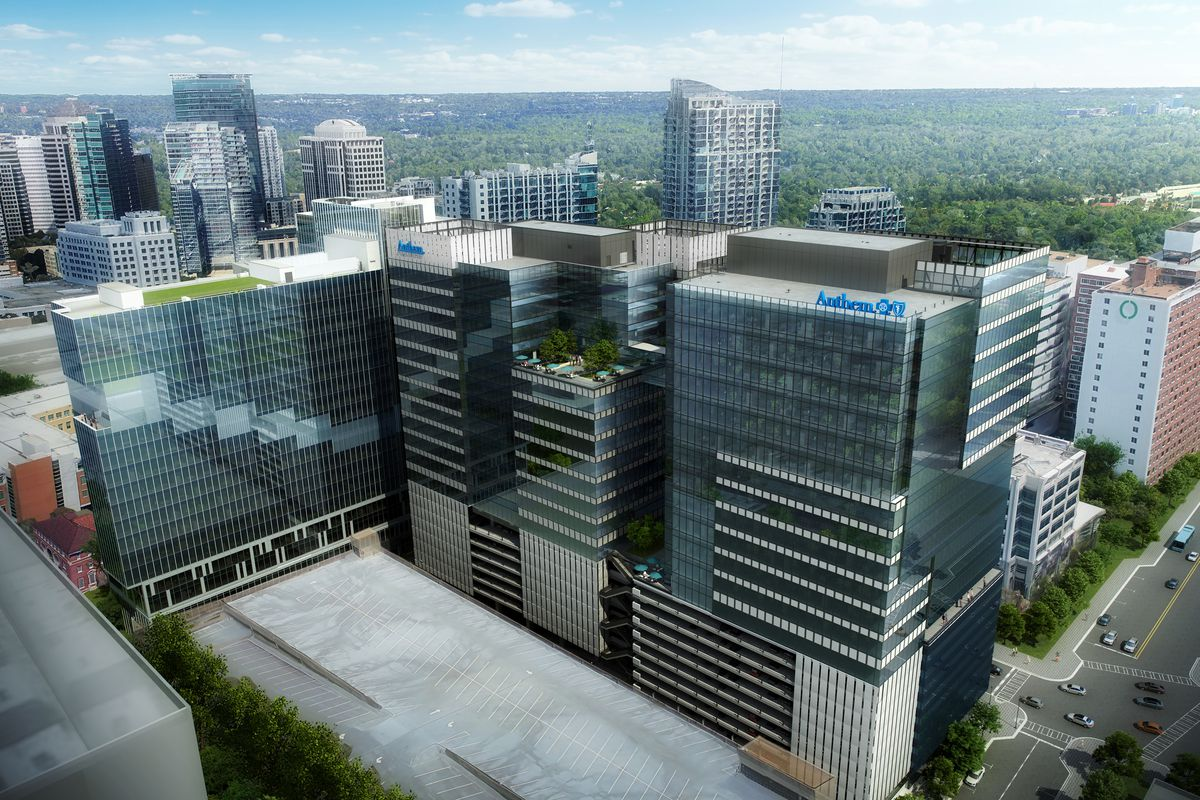 A rendering of the three glassy Portman tower projects on West Peachtree Street.