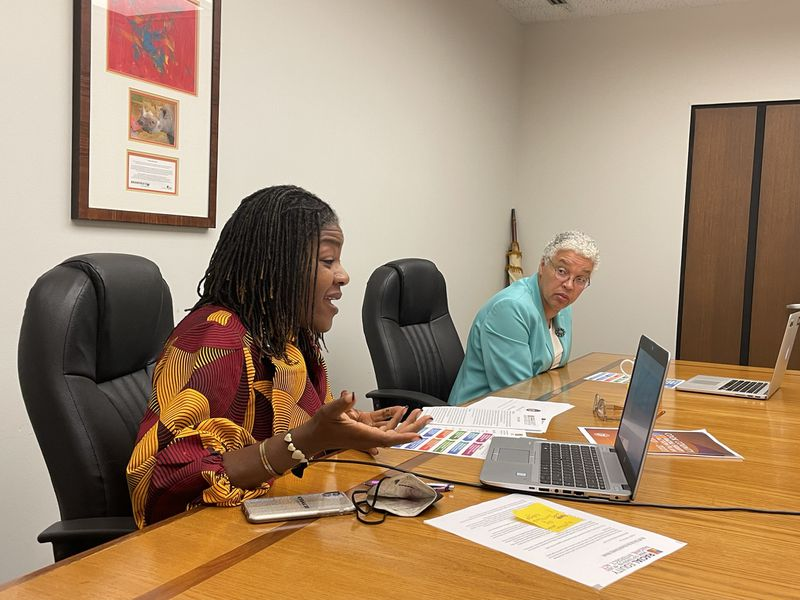Cook County Board President Toni Preckwinkle (r) and County Director of Equity and Inclusion Denise Barreto discuss the county's 3rd Annual Racial Equity Week, featuring a conversation between equity officers for county, city and state. In a historic moment, all three government units have now hired personnel dedicated to advancing racial equity.