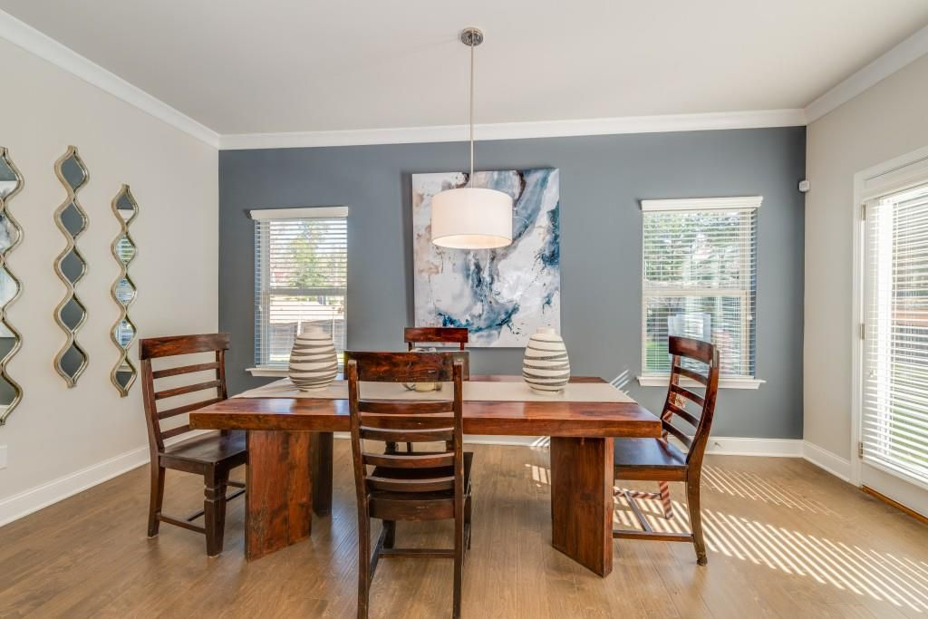 A large blue and white dining room.