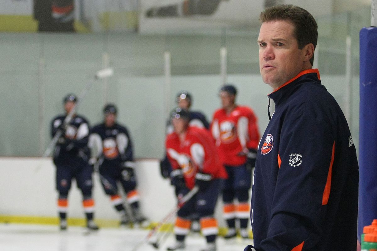 SYOSSET, NY - JULY 10: Assistant Coach Dean Chynoweth of the New York Islanders takes part in prospects camp on July 10, 2009 at Iceworks in Syosset, New York. (Photo by Bruce Bennett/Getty Images)