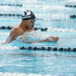 BYU swimmer Josue Dominguez gets in some laps in the BYU natatorium in Provo.