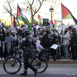 Chicago Police keep watch as thousands rally in support of Palestine on Michigan Avenue near Grant Park, Wednesday evening, May 12, 2021.