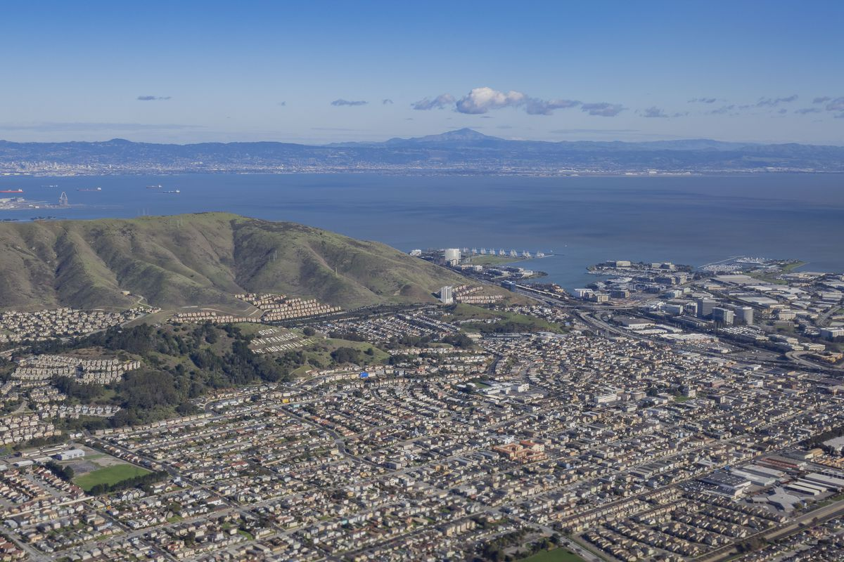 An aerial photo of South San Francisco and the bay beyond.