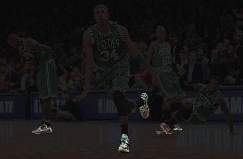 The same photo with only Paul Pierce's shoes highlighted