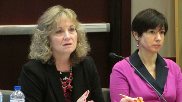 State Superintendent Glenda Ritz, left, at Friday's Indiana State Board of Education meeting.