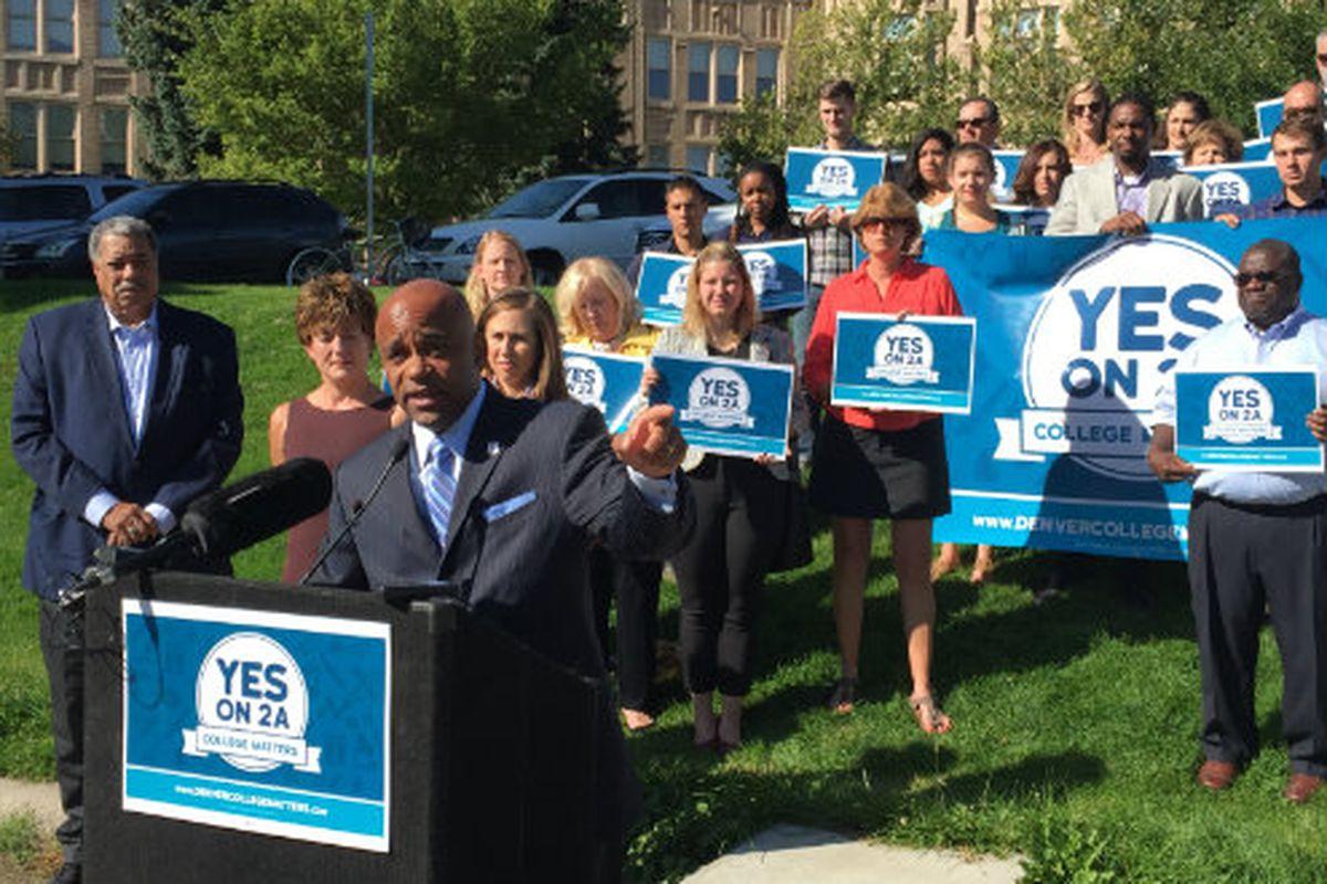 Mayor Michael Hancock at a Yes on 2A kickoff event (Jon Murray, The Denver Post).
