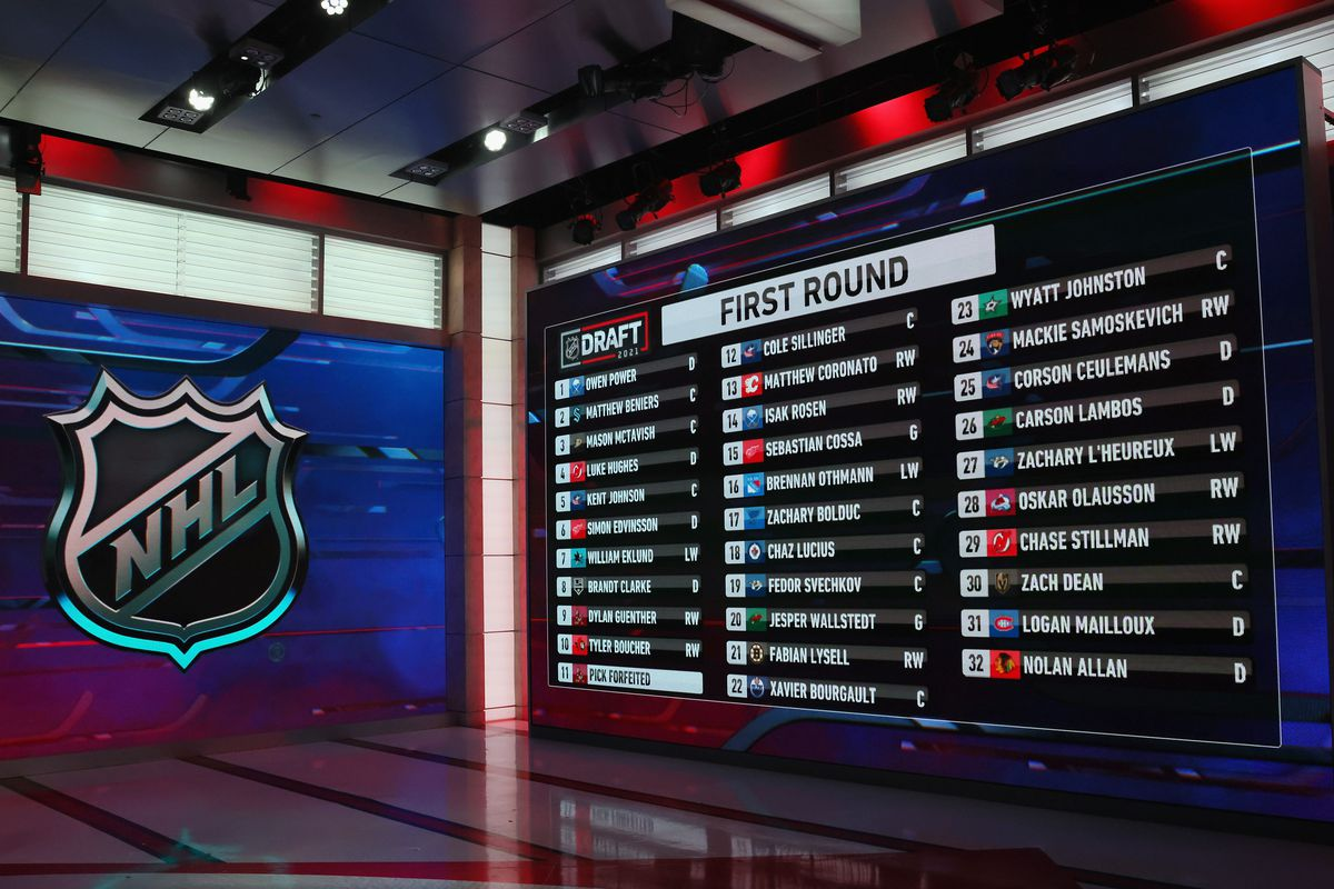 A general view of the draft board from the first round of the 2021 NHL Entry Draft at the NHL Network studios on July 23, 2021 in Secaucus, New Jersey.