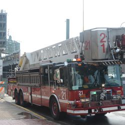 10:32 a.m. Tower Ladder 21 parked in front of the firehouse on Waveland -