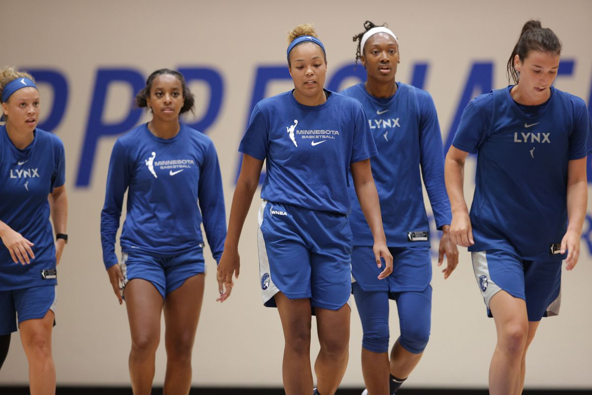 The Minnesota Lynx during the scrimmage against the Dallas Wings on July 22, 2020 at IMG Academy in Bradenton, Florida.