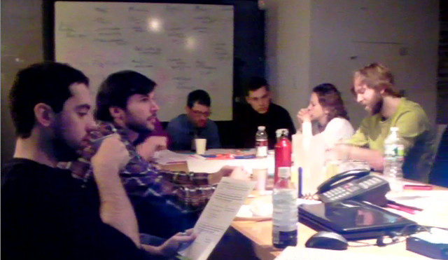 EDesign Lab members brainstorm ideas in group meeting. (Courtesy of Hsing Wei)