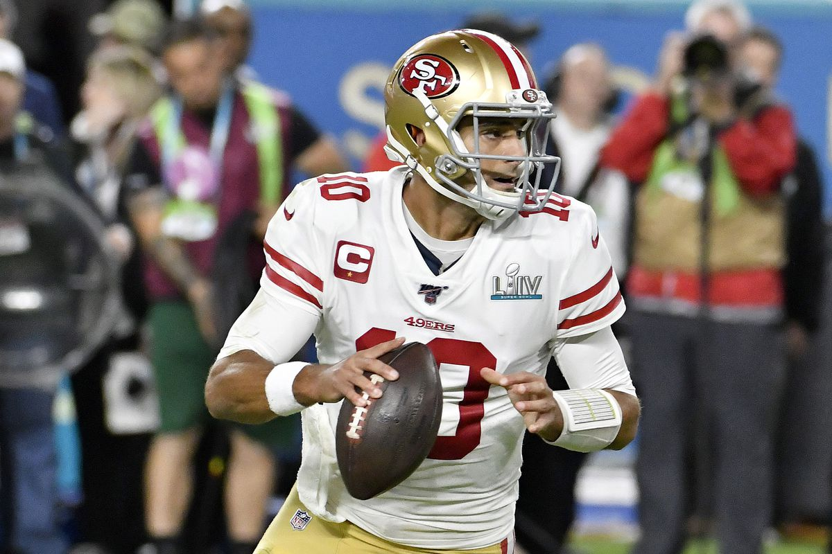 Jimmy Garoppolo of the San Francisco 49ers looks to pass against the Kansas City Chiefs in Super Bowl LIV at Hard Rock Stadium on February 02, 2020 in Miami, Florida. The Chiefs won the game 31-20.