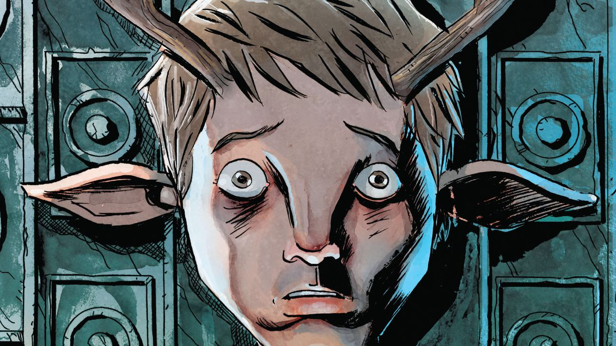 An unnamed boy with huge eyes, a wide nose, equine ears and antlers growing out of his fead, fearfully clutches a piece of red flannel, on the cover of Sweet Tooth: The Return #1, DC Comics (2020).