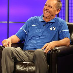 Ty Detmer, offensive coordinator and quarterbacks coach, answers questions during BYU Football Media Day at BYU Broadcasting in Provo on Friday, June 23, 2017.
